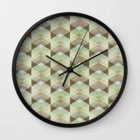 whisky Wall Clocks featuring Hipster Pattern  by Schwebewesen • Romina Lutz