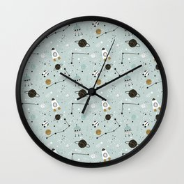 Space ships Animals Prints patterns Wall Clock