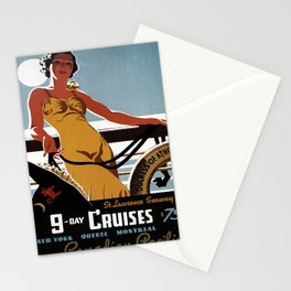 ancienne affiche 9 day cruises Stationery Cards