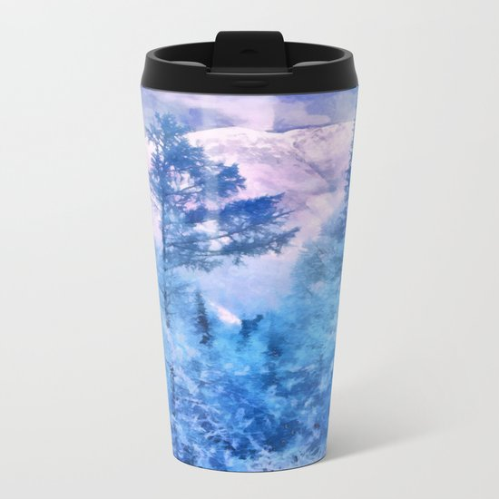 Winter forest in mountains Metal Travel Mug