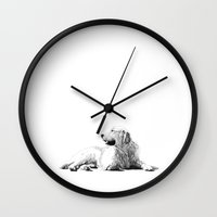 golden retriever Wall Clocks featuring Red // Golden Retriever by Dog of Art