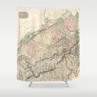 switzerland Shower Curtains featuring Vintage Switzerland Map by BaconFactory