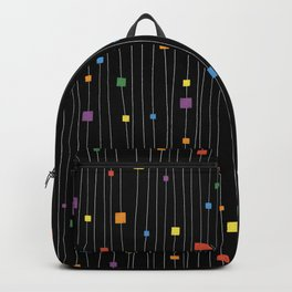 Squares and Vertical Stripes - Rainbow on Black - Hanging Backpack
