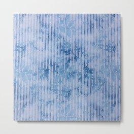 Geometric vintage modern navy blue white watercolor floral Metal Print