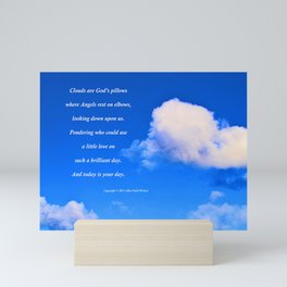 """Clouds #57"" with poem: God's Pillows Mini Art Print"