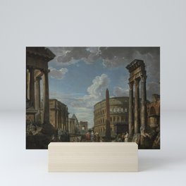 An architectural capriccio with figures among Roma Mini Art Print