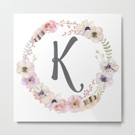 Floral Wreath - K Metal Print