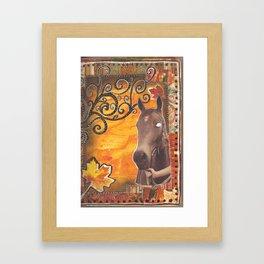 Horse and leaves Framed Art Print