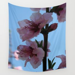 Pastel Pink of Peach Tree Blossom Wall Tapestry