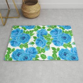 Blue roses watercolor seamless pattern Rug