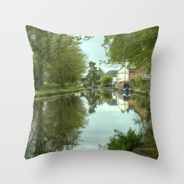 The Canal at Stoke Prior Throw Pillow