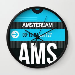AMS Amsterdam Luggage Tag 1 Wall Clock
