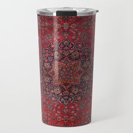 Old Century Persia Authentic Colorful Purple Blue Red Star Blooms Vintage Rug Pattern Travel Mug