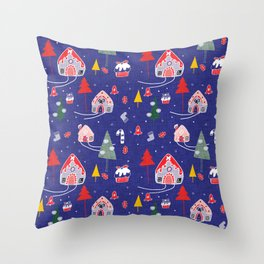 gingerbread house blue #Christmas #Holiday Throw Pillow