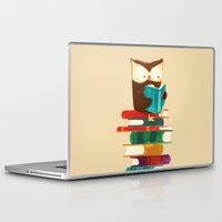 reading Laptop & iPad Skins featuring Owl Reading Rainbow by Picomodi