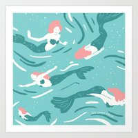 mermaids Art Prints featuring Mermaids by JESS SMART SMILEY