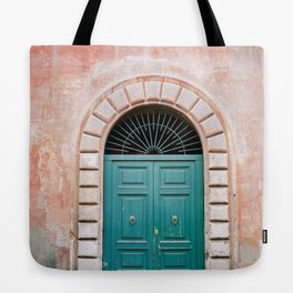Turquoise Green door in Trastevere, Rome. Travel print Italy - film photography wall art colourful. Tote Bag