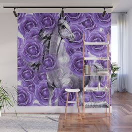 HORSES AND PURPLE ROSES AND HORSES Wall Mural
