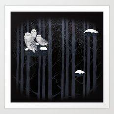 Snow Owls Art Print