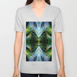 Blue Green Bright Rays,Fractal Art Unisex V-Neck