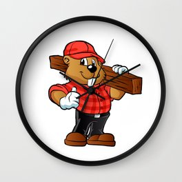 Beaver holding a plank of wood Wall Clock