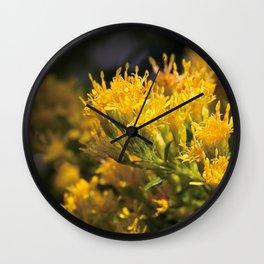 Macro photo golden flowers Wall Clock