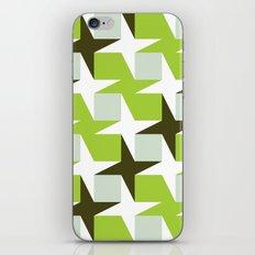 Green & brown stars & squares pattern iPhone & iPod Skin