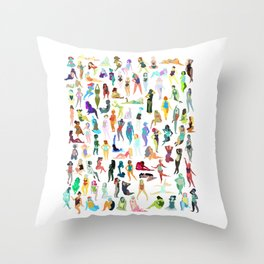 100 tiny ladies Throw Pillow