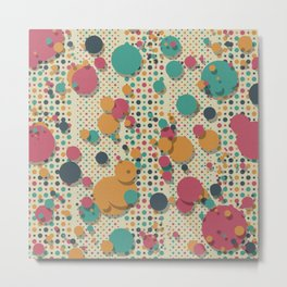 """Retro Colorful Polka Dots 02"" Metal Print"