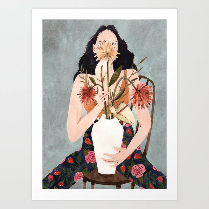 Hilda with vase Art Print