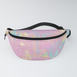 Artistic Teal Pink Gold Watercolor Paint Splatters Fanny Pack
