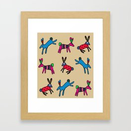 Happy hares Framed Art Print