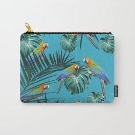 Parrots in the Tropical Jungle #2 #tropical #decor #art #society6 Carry-All Pouch