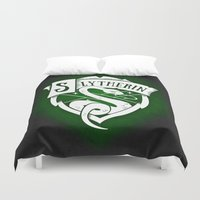slytherin Duvet Covers featuring White Slytherin Crest by Sharayah Mitchell