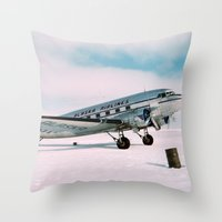 aviation Throw Pillows featuring Vintage aviation photograph Alaska Airlines airplane air plane classic pilot flight travel photo by iGallery