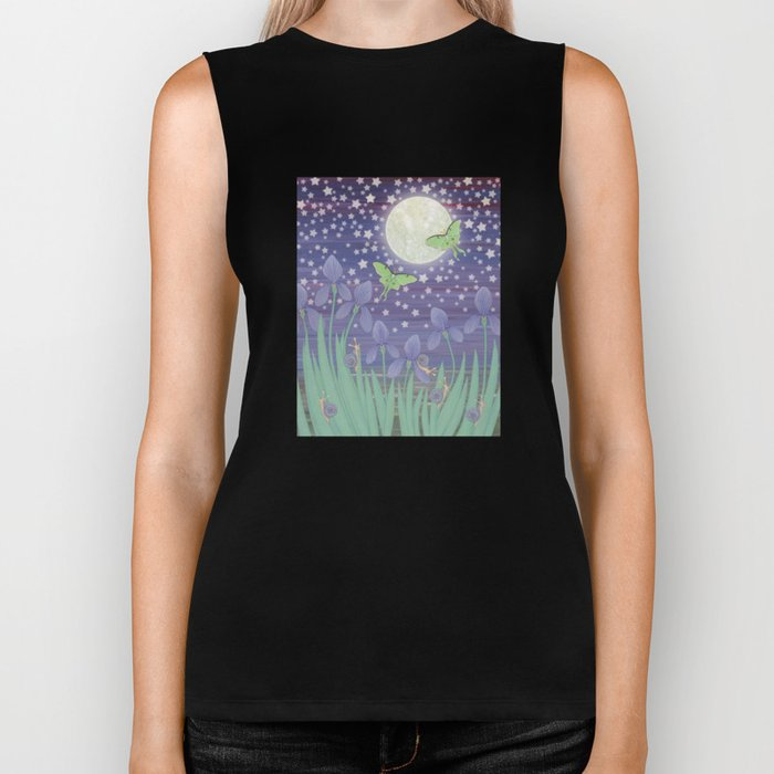 Moonlit stars, luna moths, snails, & irises Biker Tank