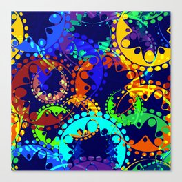 Texture of bright colorful gears and laurel wreaths in kaleidoscope style on a sea background. Canvas Print