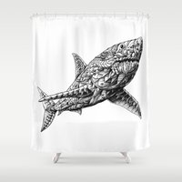 bioworkz Shower Curtains featuring Great White by BIOWORKZ