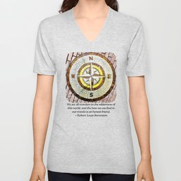 Compass Rose On Brick Street Unisex V-Neck