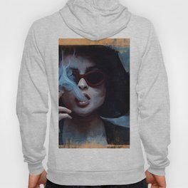 Marla Singer Smokes A Cigarette Behind Sunglasses - Fight Hoody