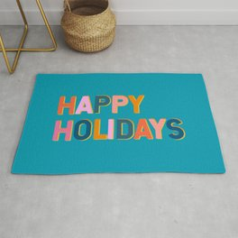 Colorful Happy Holidays Typography Rug