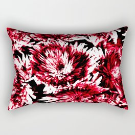 Red Black Abstract Flower Pattern  #Dahlias #Flowers Rectangular Pillow