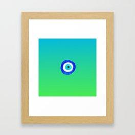 Single Evil Eye Amulet Talisman Ojo Nazar - ombre lime to tuquoise Framed Art Print