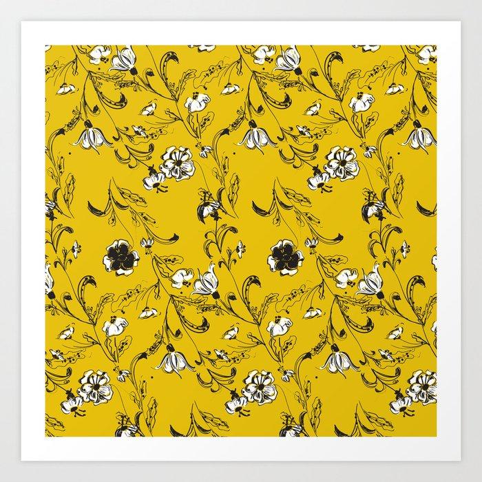 Yellow Floral Pattern Art Print