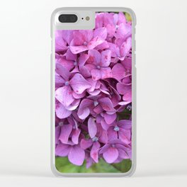Pink speckled hydrangea Clear iPhone Case