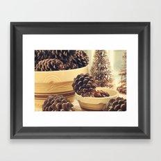 pinecones in yellow ware Framed Art Print