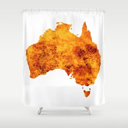 Australia Map With Flames Background Shower Curtain