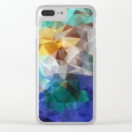 Abstract background of triangles polygon print. Bright design colors Clear iPhone Case