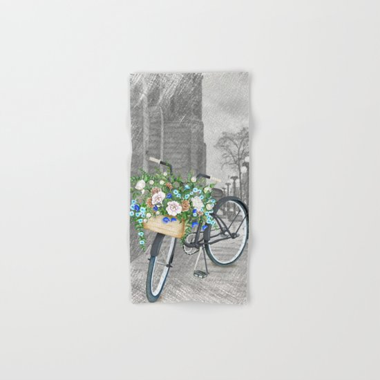 Black bike & street sketch Hand & Bath Towel