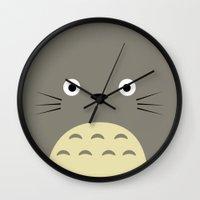 studio ghibli Wall Clocks featuring Fuzzy Grey Studio Ghibli by Yamilett Pimentel